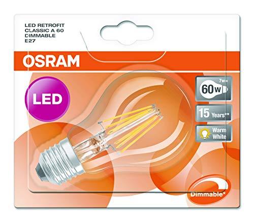 Osram LED Superstar Classic A, in Kolbenform mit E27-Sockel, Dimmbar, Ersetzt 60 Watt, Filamentstil Klar, Warmweiß – 2700 Kelvin, 1er-Pack - 2