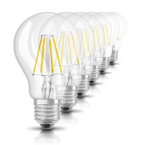 Osram LED Star Classic A, in Kolbenform mit E27-Sockel, Nicht Dimmbar, Ersetzt 60 Watt, Filamentstil Klar, Warmweiß - 2700 Kelvin, 6er-Pack