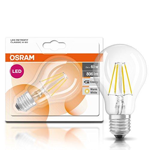 Osram LED Star Classic A, in Kolbenform mit E27-Sockel, Nicht Dimmbar, Ersetzt 60 Watt, Filamentstil Klar, Warmweiß – 2700 Kelvin, 6er-Pack - 6