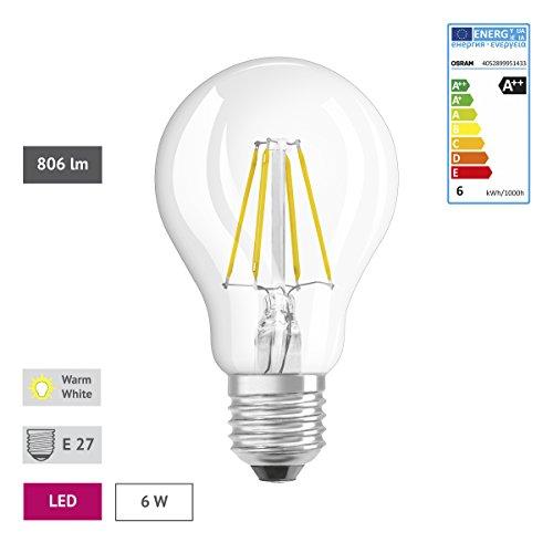 Osram LED Star Classic A, in Kolbenform mit E27-Sockel, Nicht Dimmbar, Ersetzt 60 Watt, Filamentstil Klar, Warmweiß – 2700 Kelvin, 6er-Pack - 3