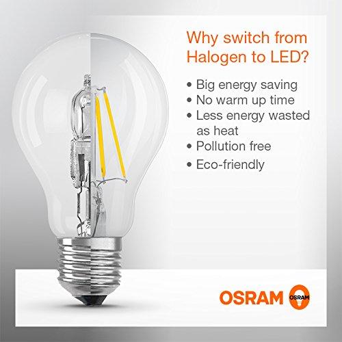 Osram LED Star Classic A, in Kolbenform mit E27-Sockel, Nicht Dimmbar, Ersetzt 60 Watt, Filamentstil Klar, Warmweiß – 2700 Kelvin, 6er-Pack - 5