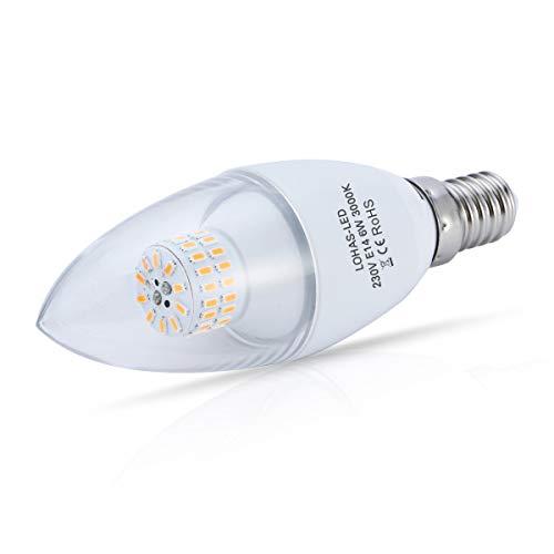 (3er Pack Warmweiß)LOHAS® 6W E14 C37 LED-Kerzenform, LED-Kerzenlampe , Ersatz für 60W Halogenlampen, 550LM, 3000K, 360°Abstrahwinkel, Nicht-Dimmbar, LED Kerzenleuchten, LED Leuchtmittel - 3