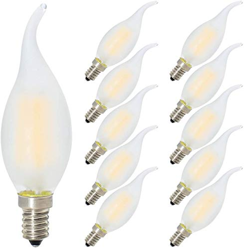 10er-Pack 4W Dimmbar LED Lampe in Kerzenform mit E14 Fassung,Ersetzt 40 Watt,LED Filament Kerze Birne Windstoß Matt Warmweiß 2700K