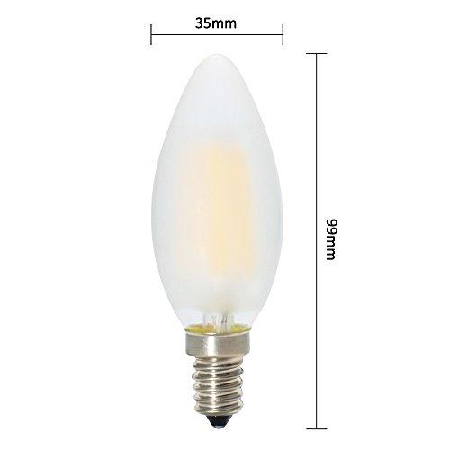 6er-Pack E14 Dimmbar LED Kerzenform Ersetzt 40W Glühlampen,Warmweiss 2700K, C35 4W, Matt Glas,360º Abstrahlwinkel LED Birnen, LED Kerzenlampen, LED Kerzenleuchten, LED Leuchtmitte - 4