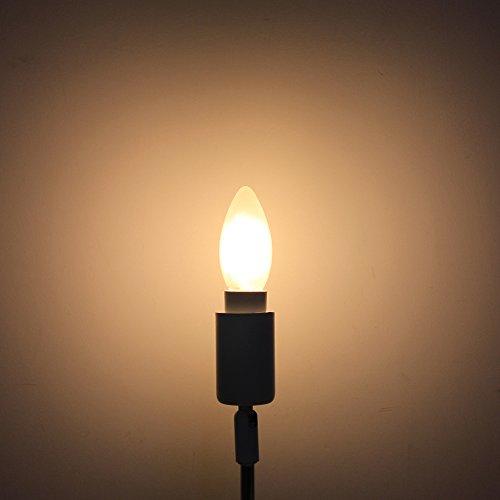 6er-Pack E14 Dimmbar LED Kerzenform Ersetzt 40W Glühlampen,Warmweiss 2700K, C35 4W, Matt Glas,360º Abstrahlwinkel LED Birnen, LED Kerzenlampen, LED Kerzenleuchten, LED Leuchtmitte - 5