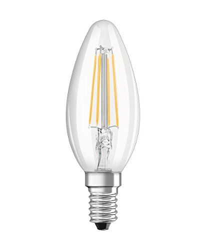Osram LED Base Classic B, in Kerzenform mit E14-Sockel, Nicht Dimmbar, Ersetzt 40 Watt, Filamentstil Klar, Warmweiß – 2700 Kelvin, 2er-Pack - 2